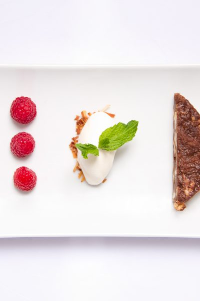 Chocolate Bread Pudding with Raspberry Sauce